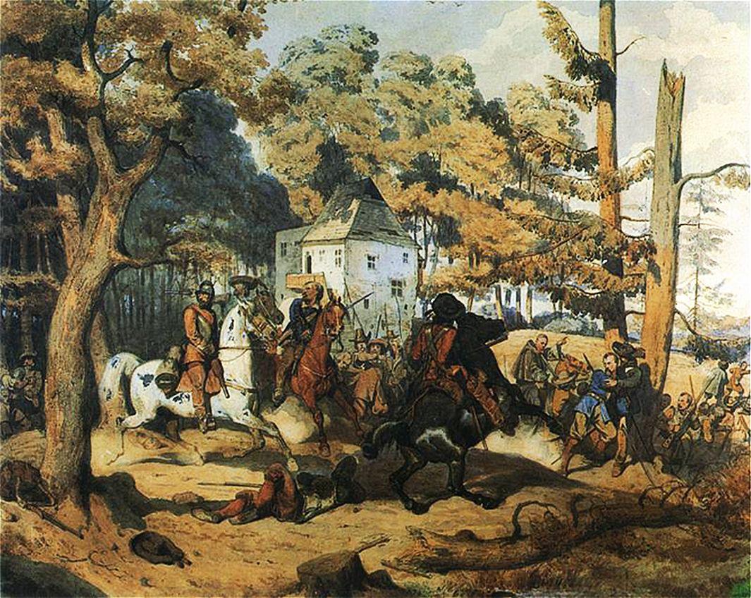 Артур Ґроттґер. Бій зі шведами, 1856. Папір, акварель, OMT