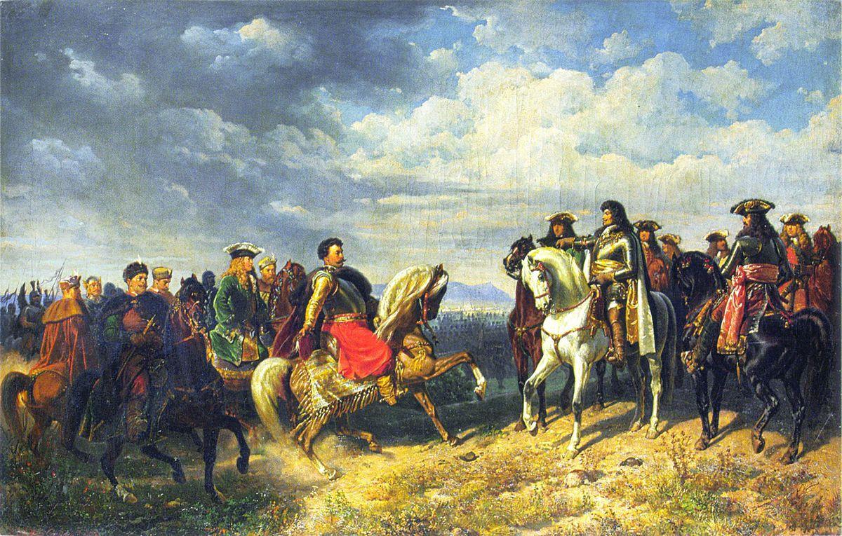 Артур Ґроттґер. Ян III Собеський та Леопольд I під Швехатом, 1859. Полотно, олія, ЛНГМ