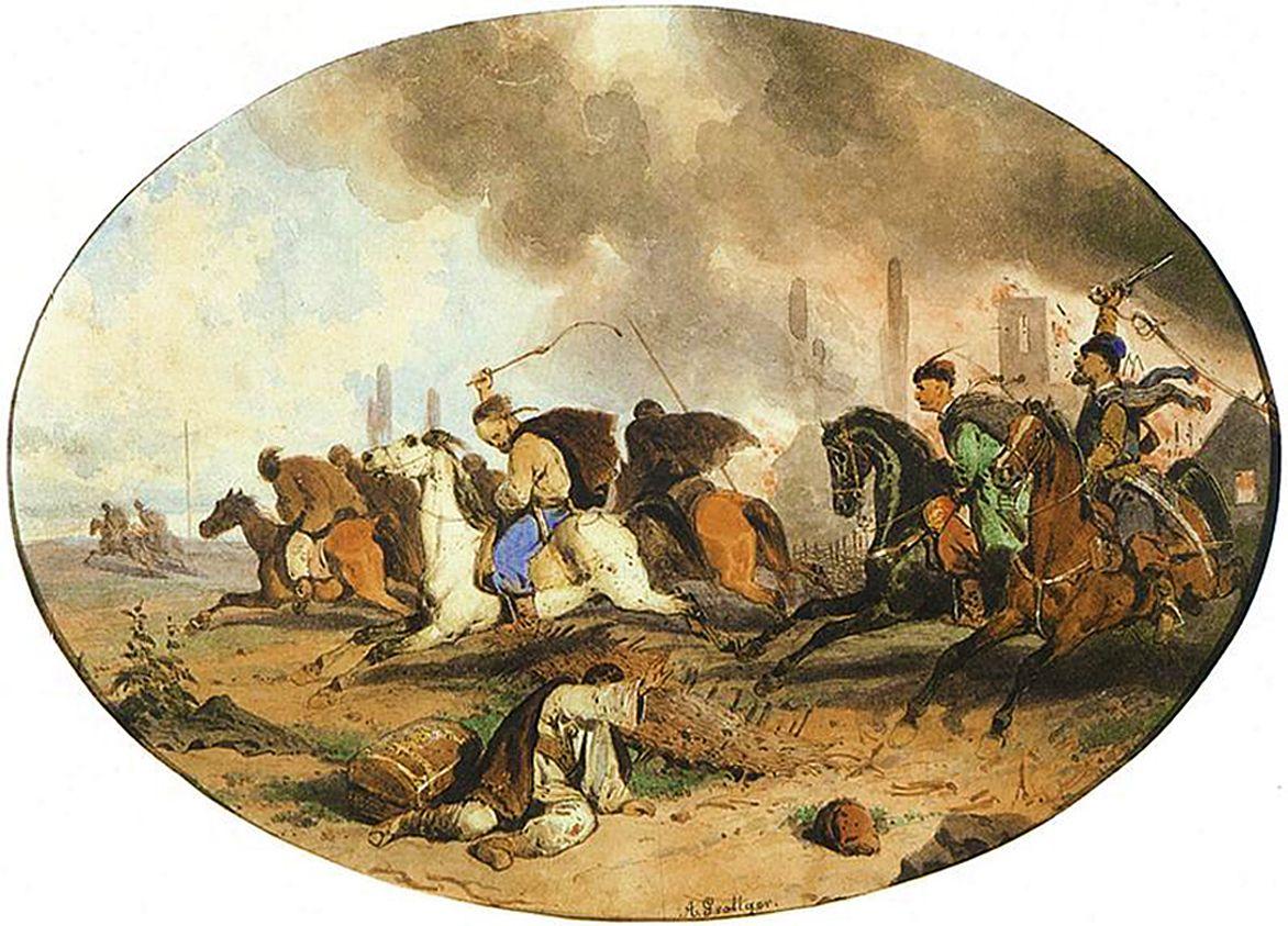 Артур Ґроттґер. Втеча татар з поля битви, 1855. Папір, акварель, NMW