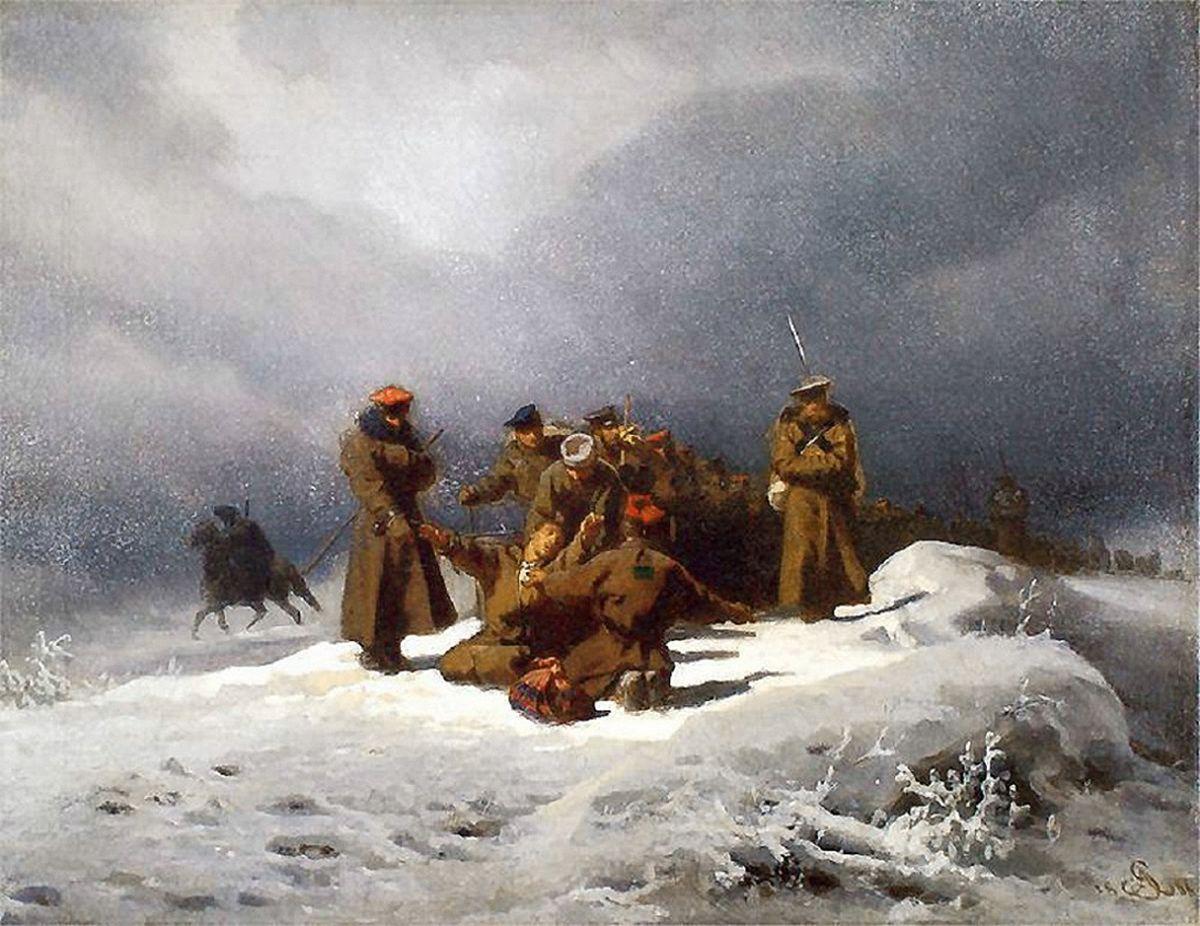 Артур Ґроттґер. Зіслані повстанці в Сибірі, 1866. Полотно, олія