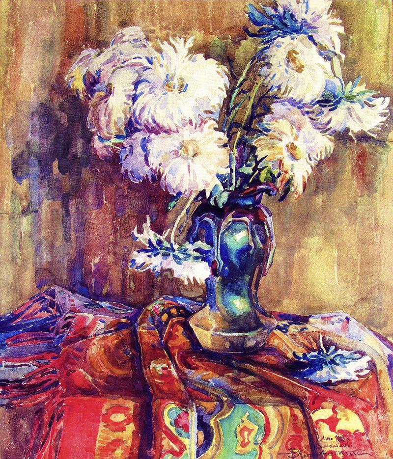 Роберт Лісовський. Айстри, 1925; пап,акв