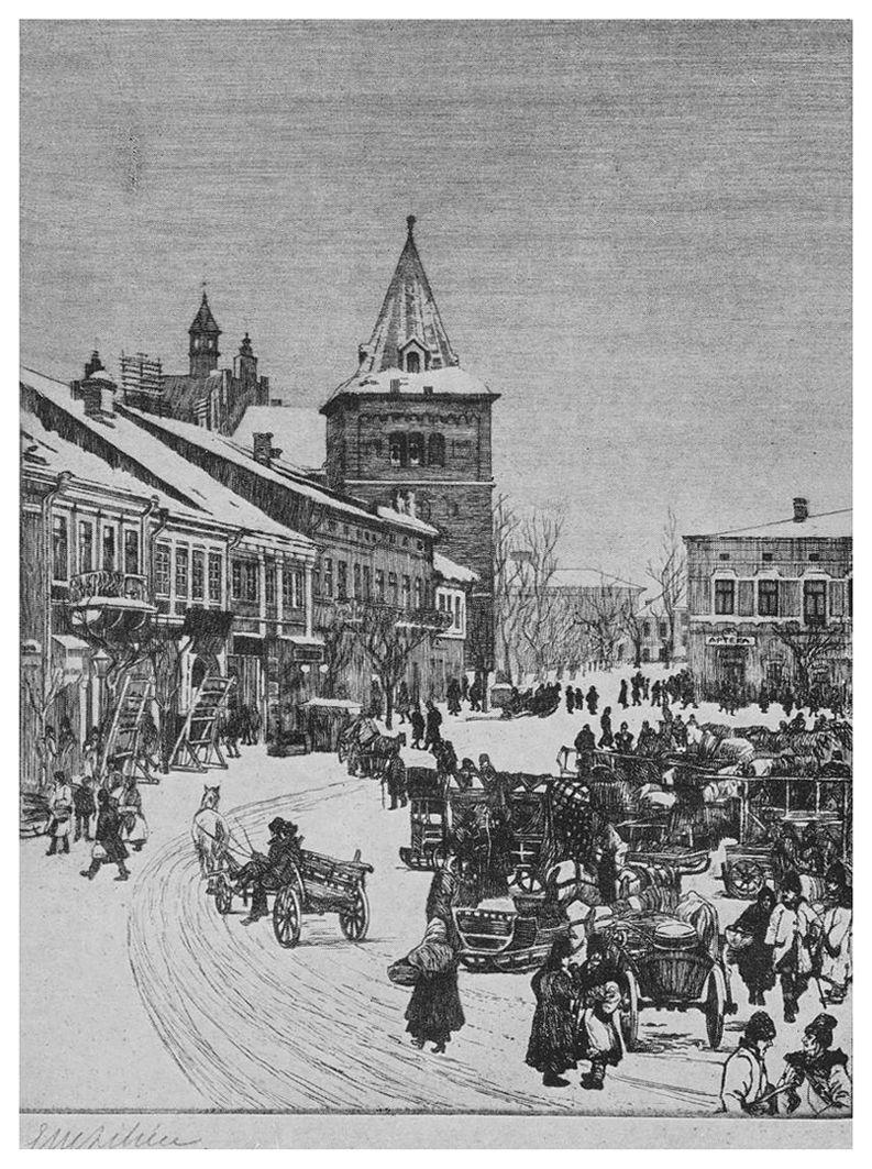 Ефраїм Моше Лілієн. Дрогобич. Ринок, 1912, гравюра