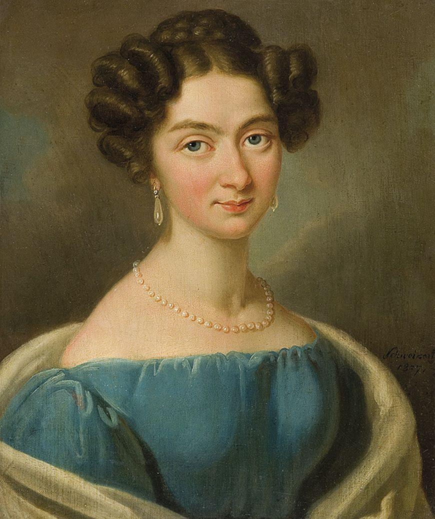 Карл Готлиб Швайкарт. Дама в блакитній сукні, 1827