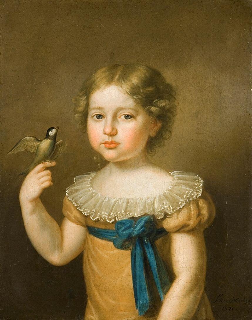 Карл Готлиб Швайкарт. Дівчинка з птахом, 1820. NMWr