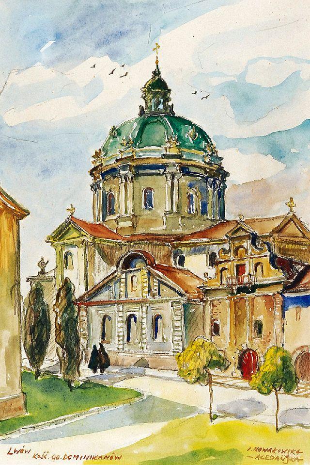 Ірина Новаківська-Ацеданська. Львів собор Домініканський, 1930-і, акварель