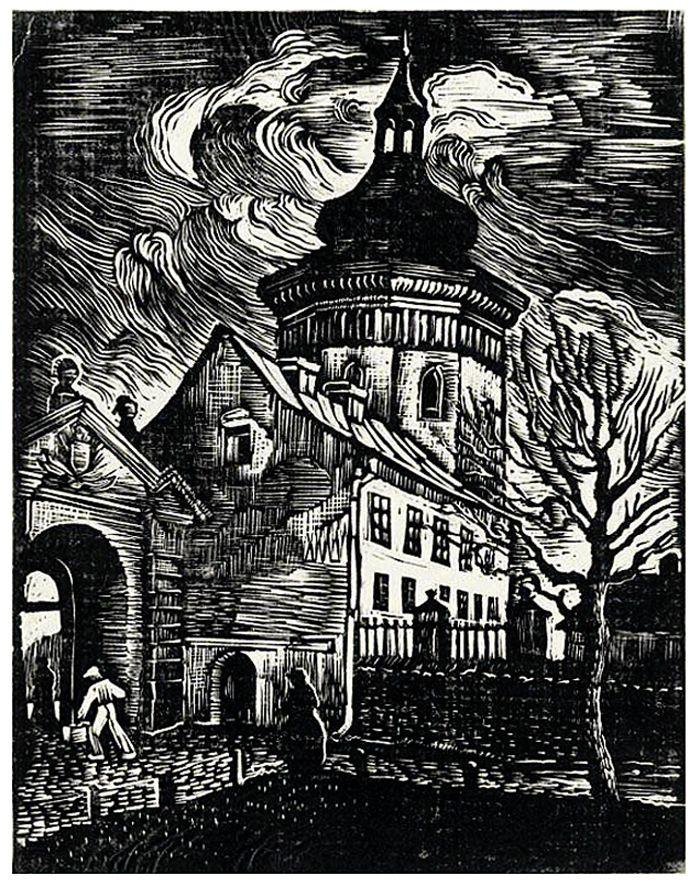 Ірина Новаківська-Ацеданська. Жовква дзвіниця костелу, 1934, дереворит