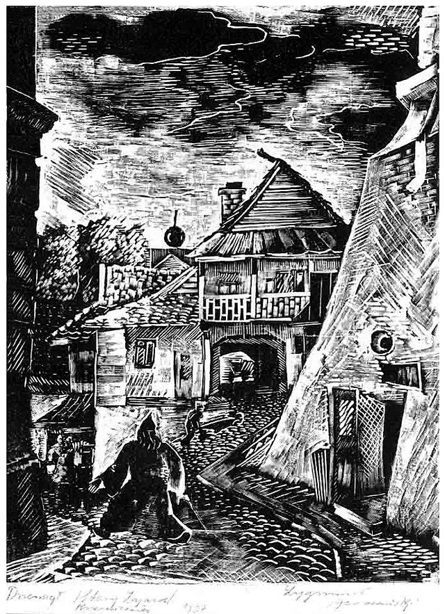 Зигмунт Ацеданський. Кременець, старий заїзд, 1937, дереворит