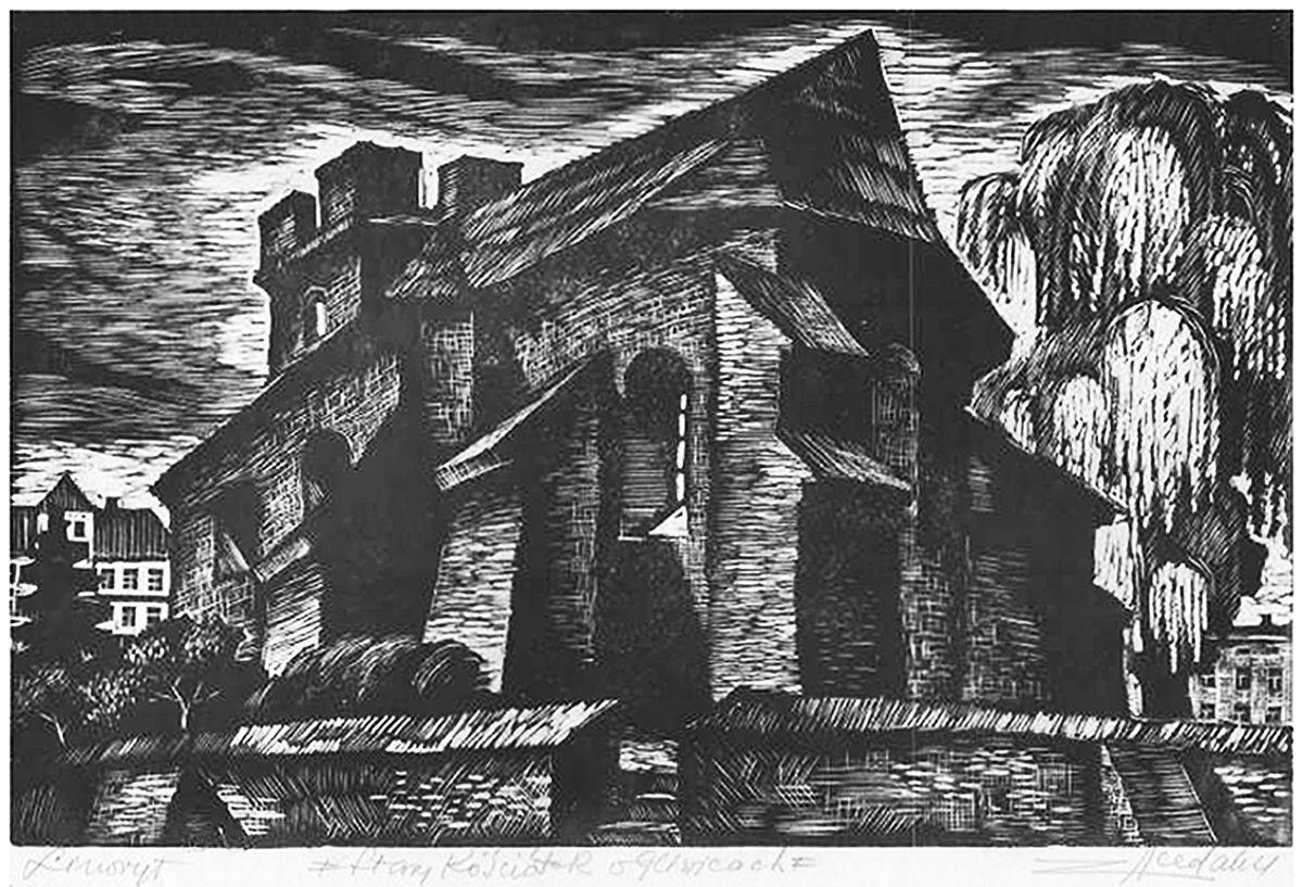 Зигмунт Ацеданський. Старий костел в Лівіце, 1970-ті, лінорит