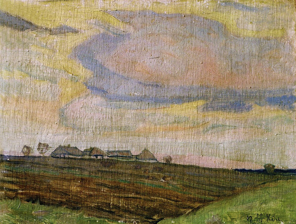 Петро Холодний. Хутір, 1930; картон, олія