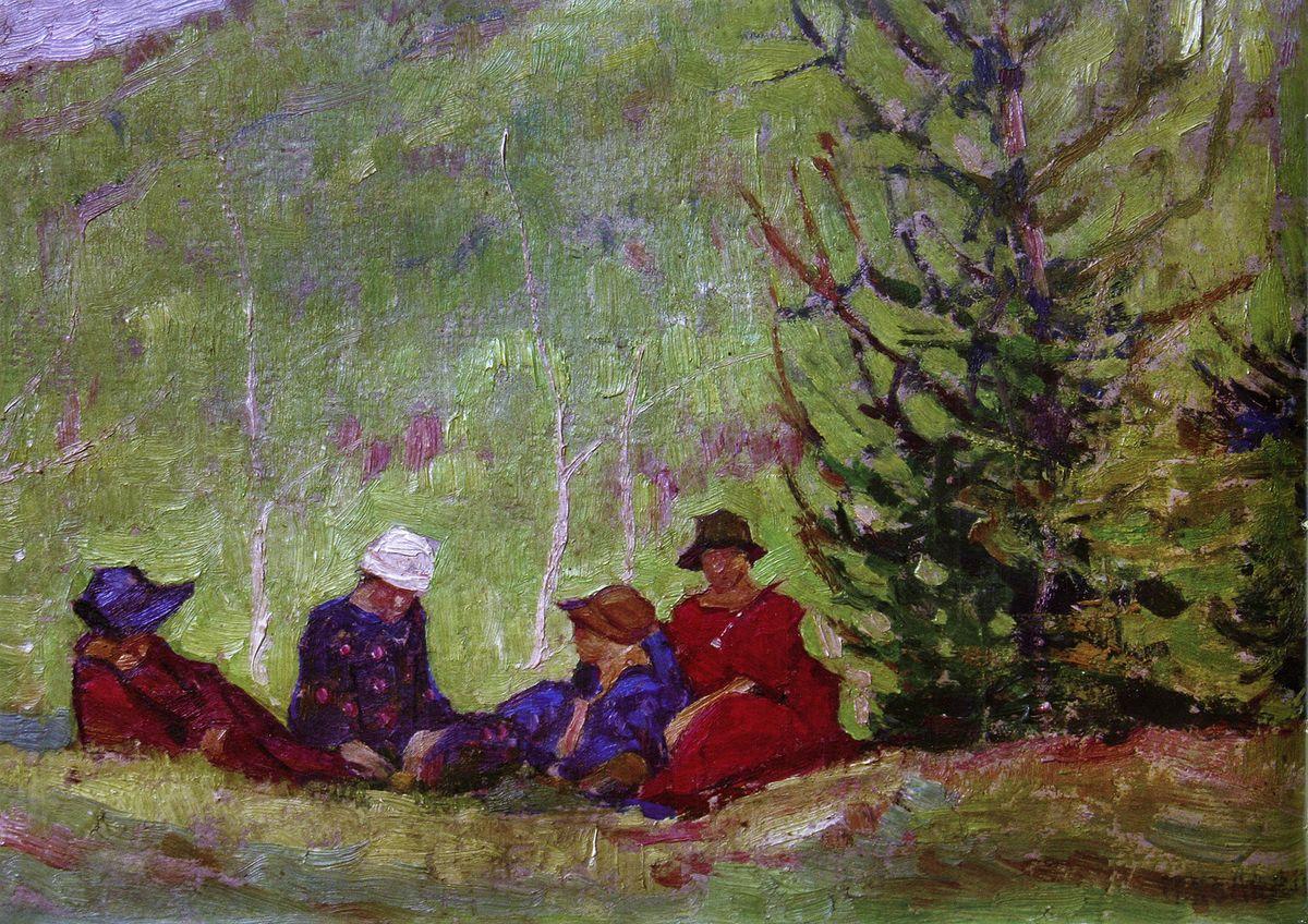 Петро Холодний. На узліссі 1920-і; картон, олія