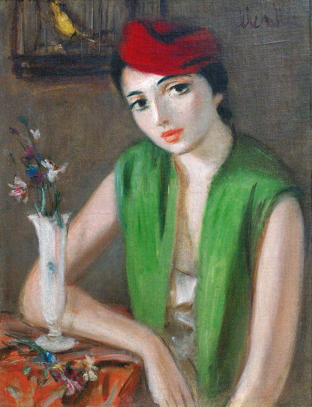 Зигмунт Менкес.  Жінка в червоному капелюшку,  1930-ті; полотно, олія