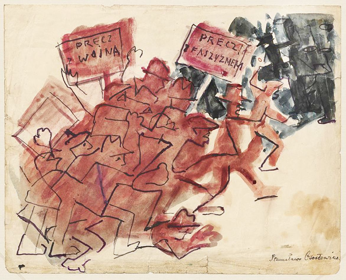Станіслав Осостович. Антифашистська демонстрація, 1932; папір, акварель; NMW