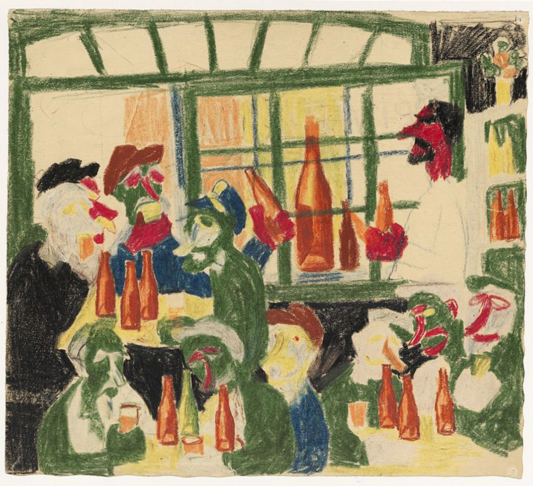 Станіслав Осостович. Пивний бар, 1939; папір, кольорові олівці; NMW