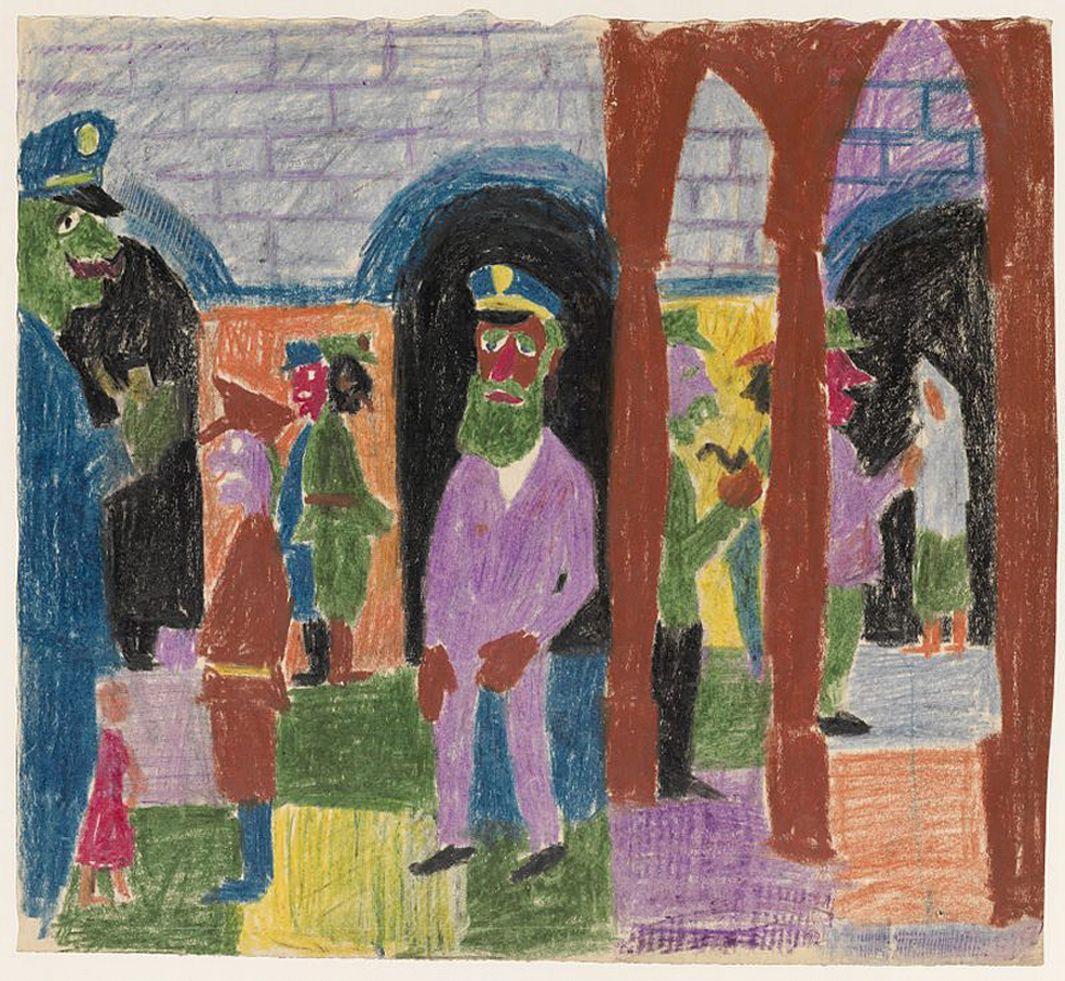 Станіслав Осостович. Ринок в Казимежі, 1939; папір, кольорові олівці; NMW