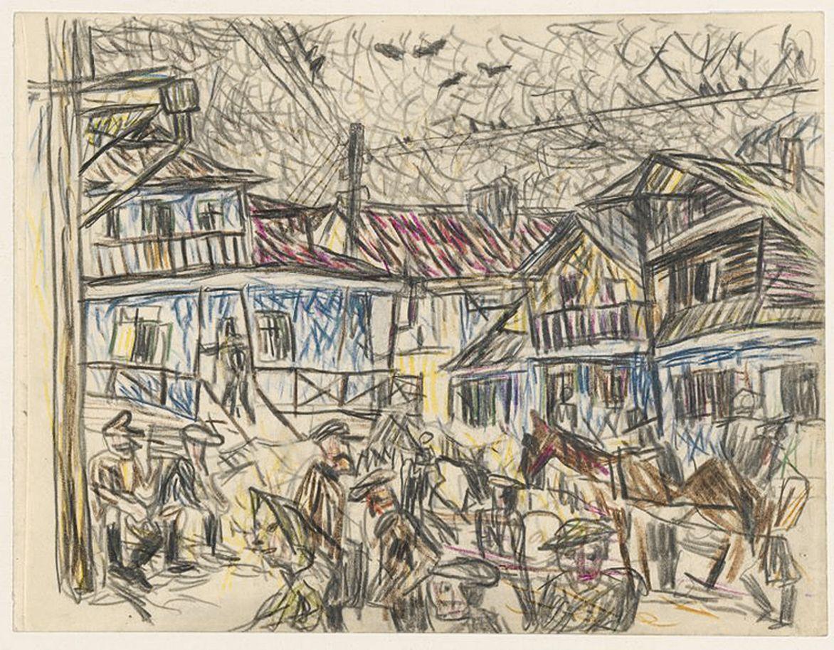 Станіслав Осостович. Сцена на ринку, 1934-37; папір, олівці; NMW
