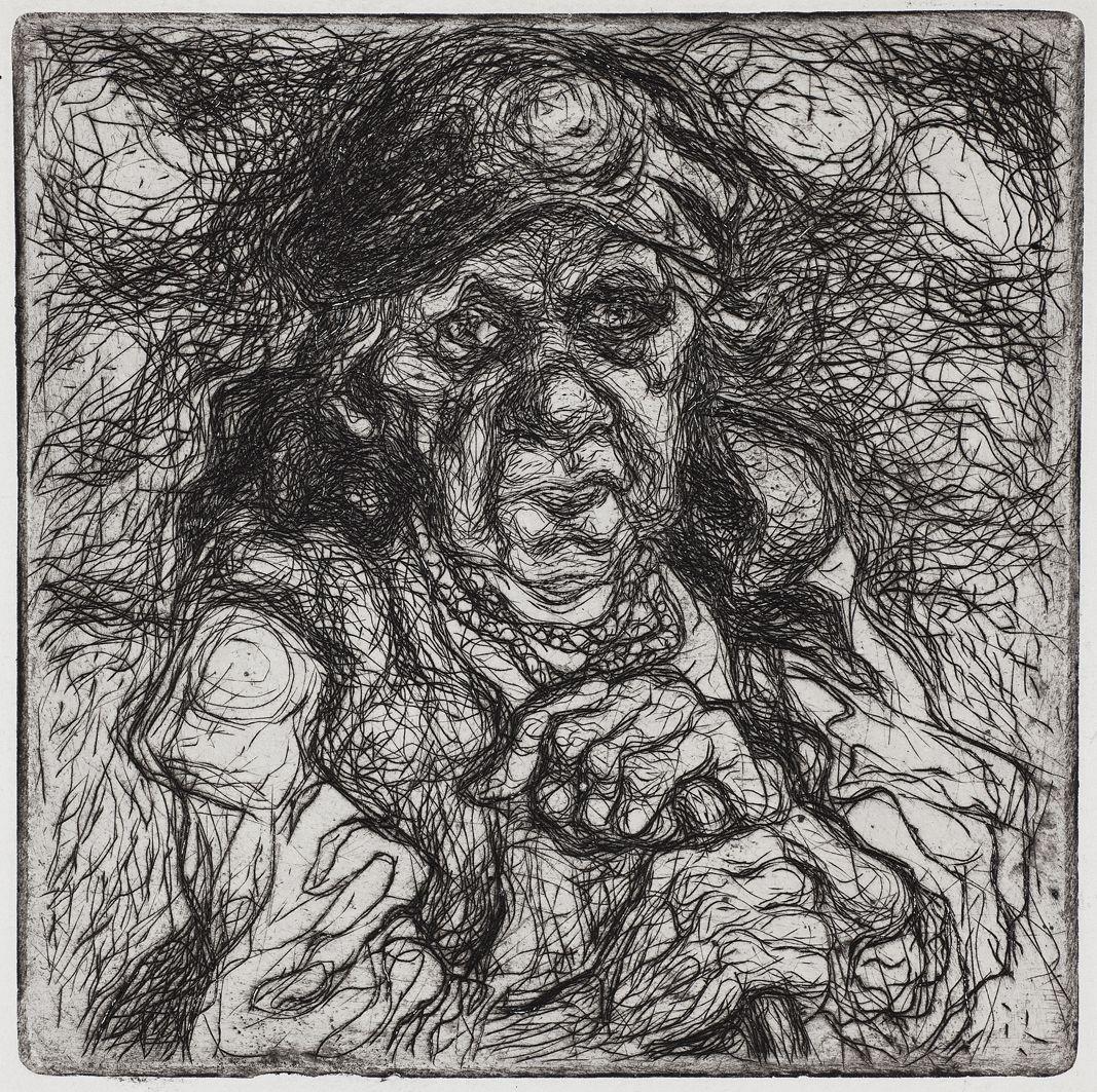 Станіслав Осостович. Стара селянка, 1930, офорт