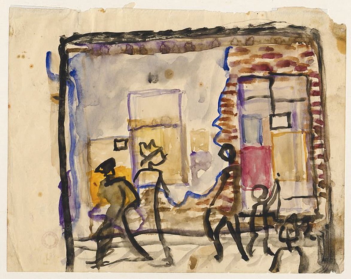 Станіслав Осостович. Стіни та люди, 1931; папір, акварель; NMW