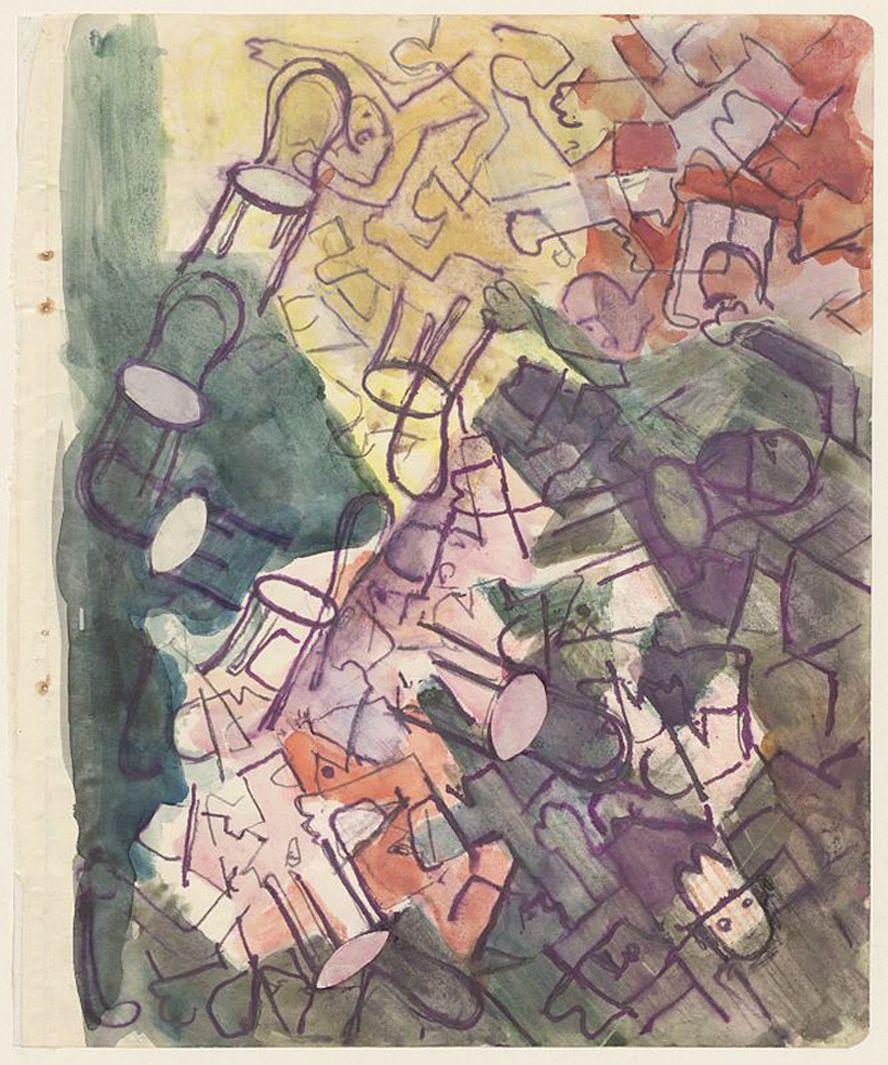 Станіслав Осостович. У конторі, 1932-1934; папір, акварель; NMW