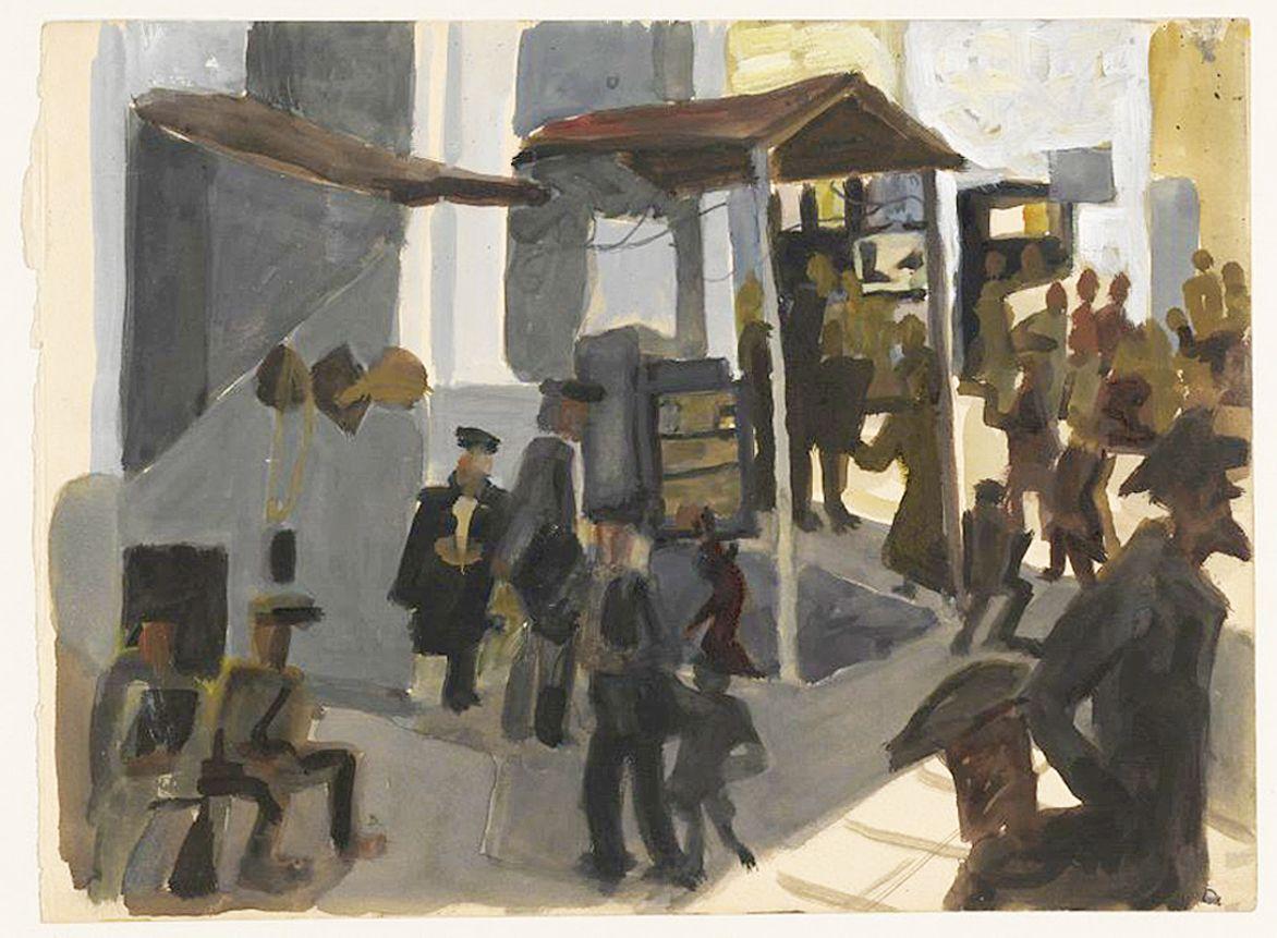 Станіслав Осостович. Вуличний швець, 1934-35; гуаш; NMW