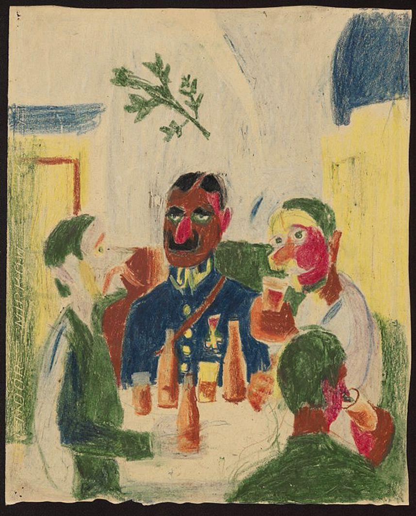 Станіслав Осостович. Випивають, 1939; папір, кольорові олівці; NMW