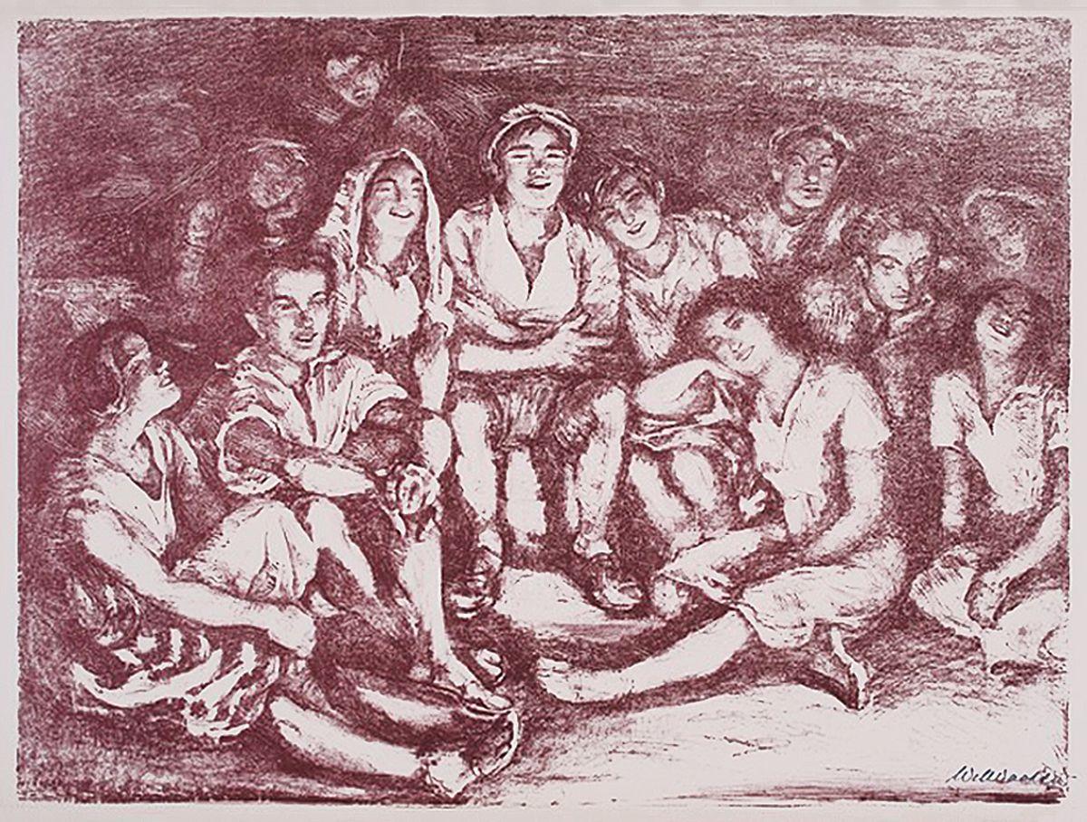 Вільгельм Вахтель. Біля вогнища, 1936; літографія