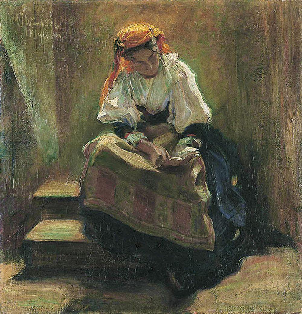 Вільгельм Вахтель. Дівчина з книгою, 1900