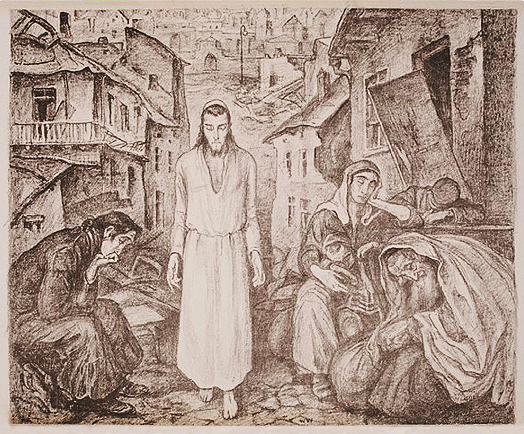 Вільгельм Вахтель. Христос, 1936; літографія