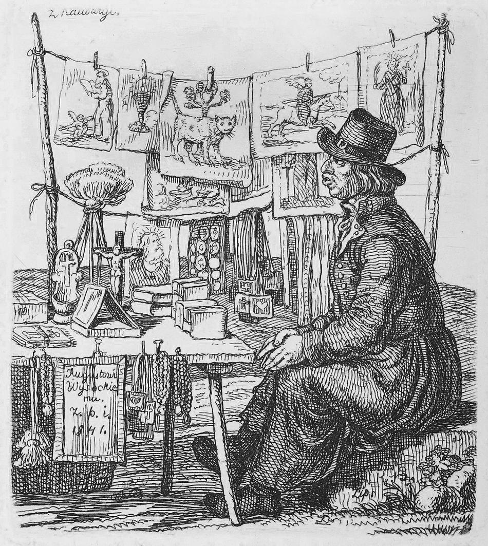 Каєтан Вінцент Кєлісінський. Продавец гравюр, 1841, литографія