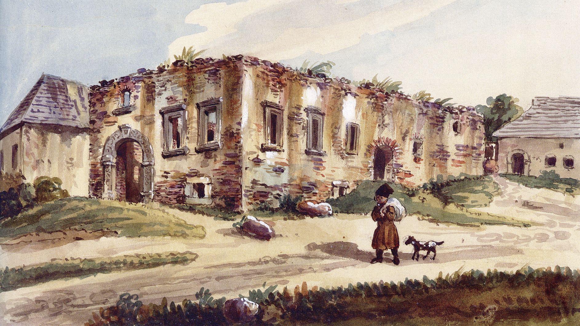 Каєтан Вінцент Кєлісінський. Язлівець. Руїни замку, 1838, акварель