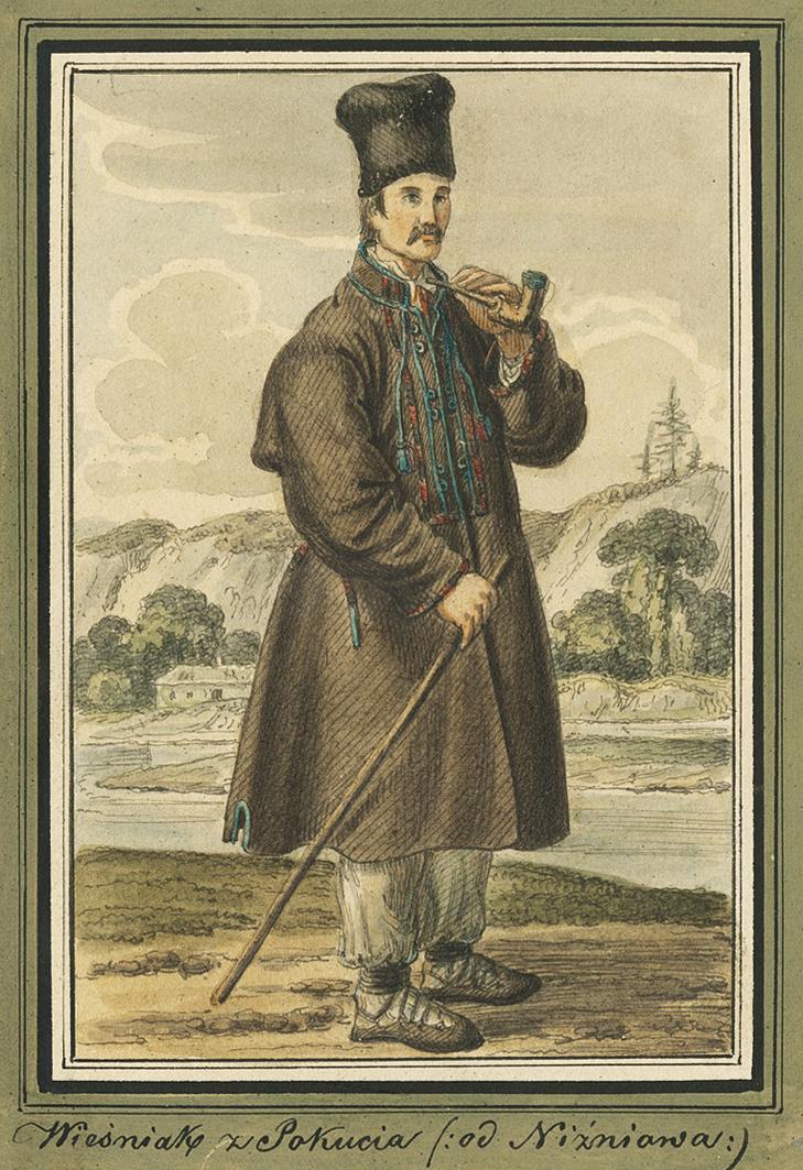 Каєтан Вінцент Кєлісінський. Нижнів (Івано-Франківськ) Селянин, 1839, акварель