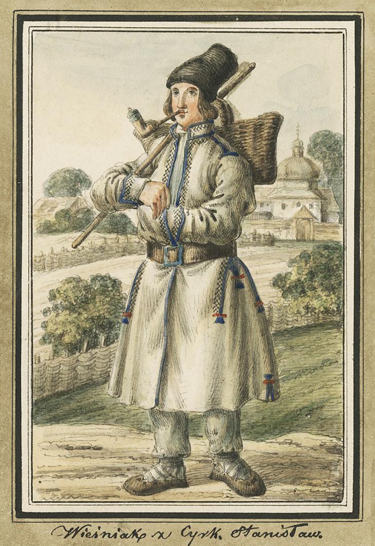 Каєтан Вінцент Кєлісінський. Прикарпаття. Селянин з люлькою, 1839, акварель