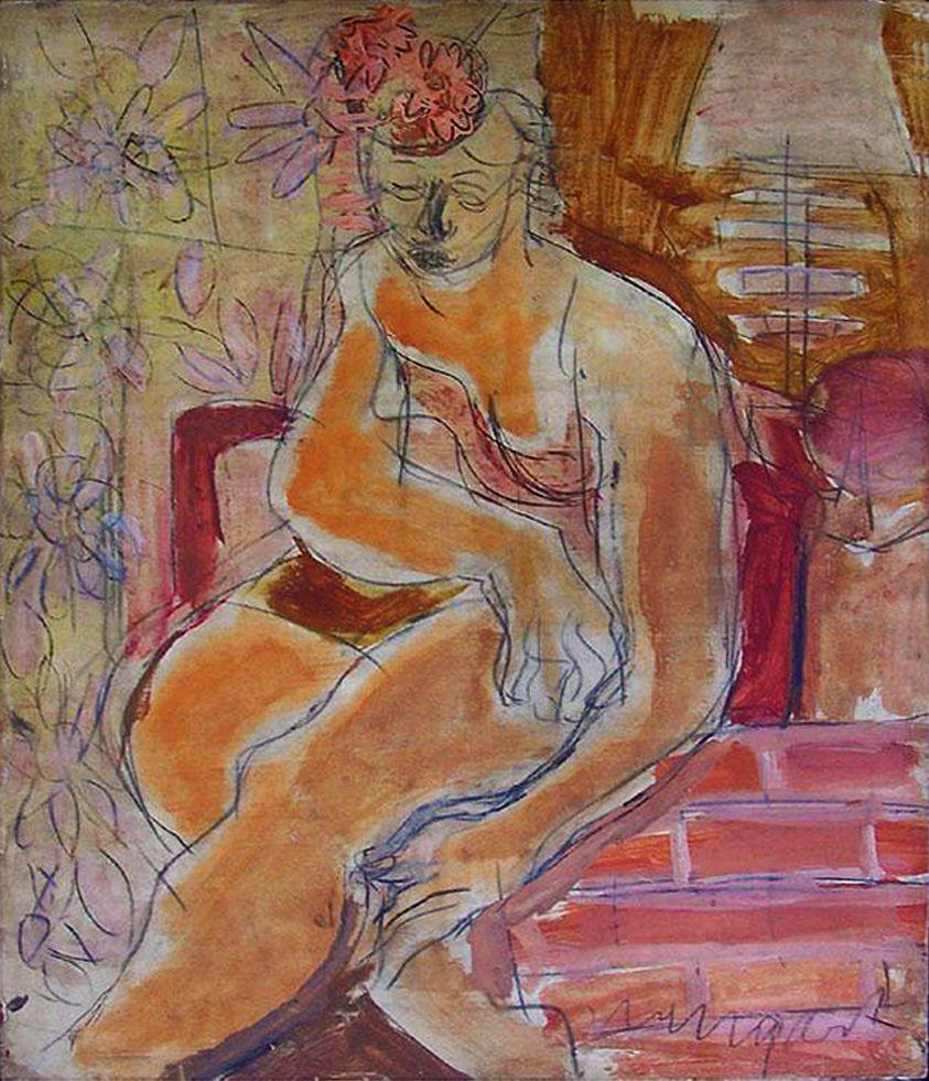 Йоахім Вайнгарт. Жінка, що сидить, 1925; акварель