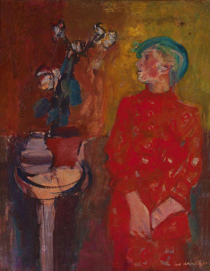 Йоахім Вайнгарт. Жінка в червоній сукні і натюрморт, 1930-ті