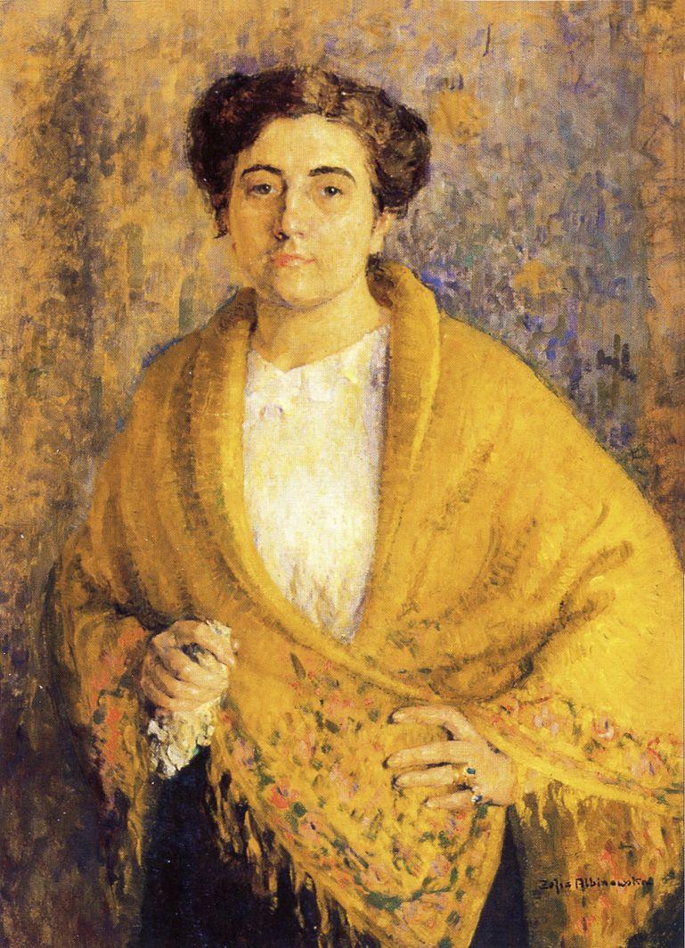 Софія Альбіновська-Мінкевич. Автопортрет в жовтій шалі, 1913, ЛНГМ