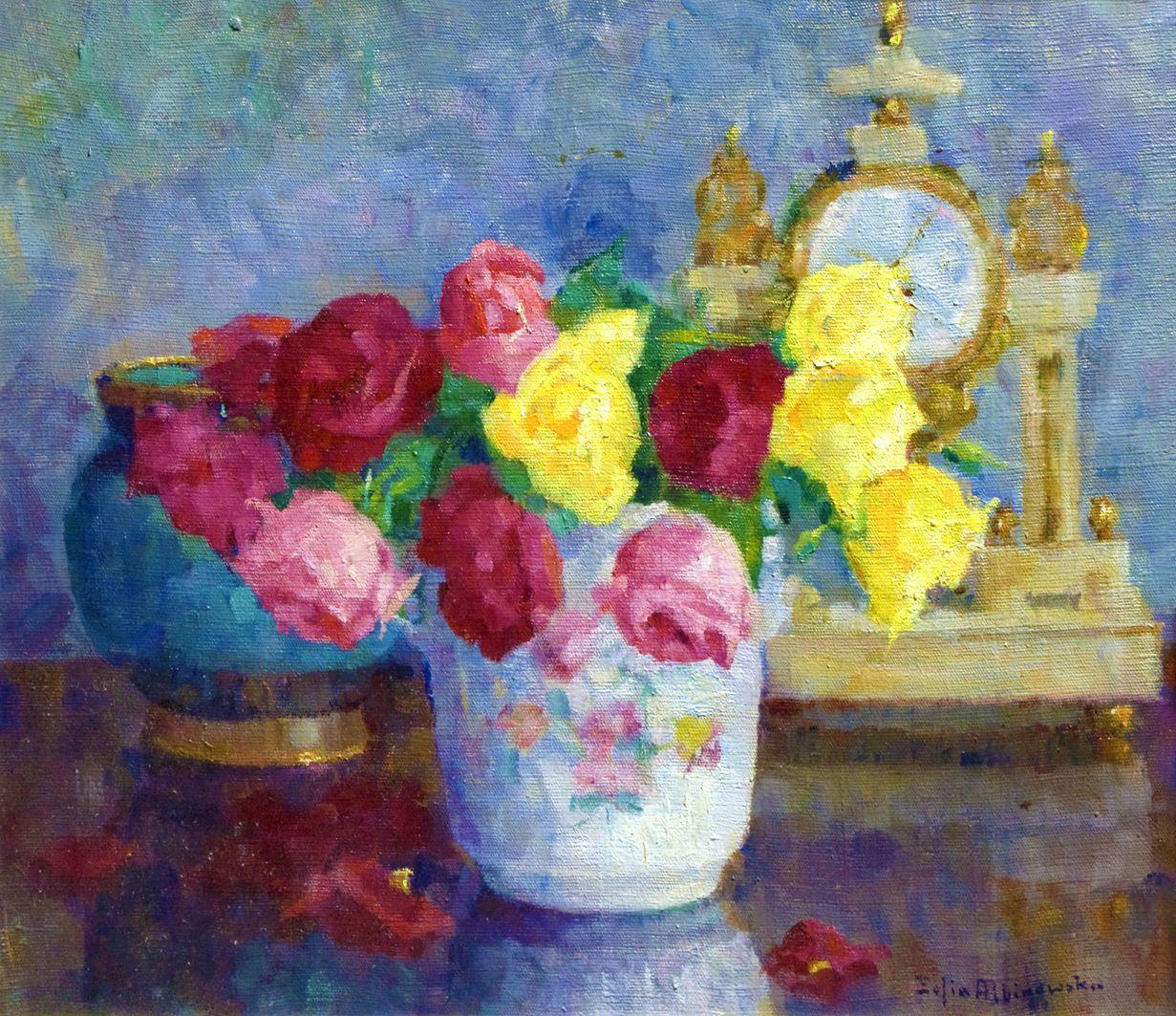 Софія Альбіновська-Мінкевич. Букет троянд і годинник, 1930-ті; ЛНГМ