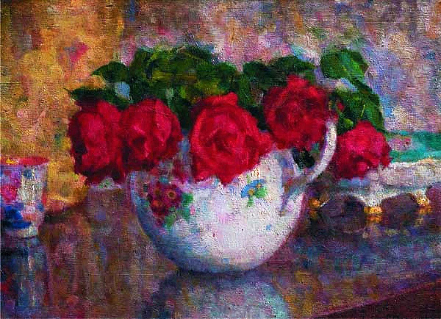Софія Альбіновська-Мінкевич. Троянди в білій порцеляновій вазі, 1920-ті