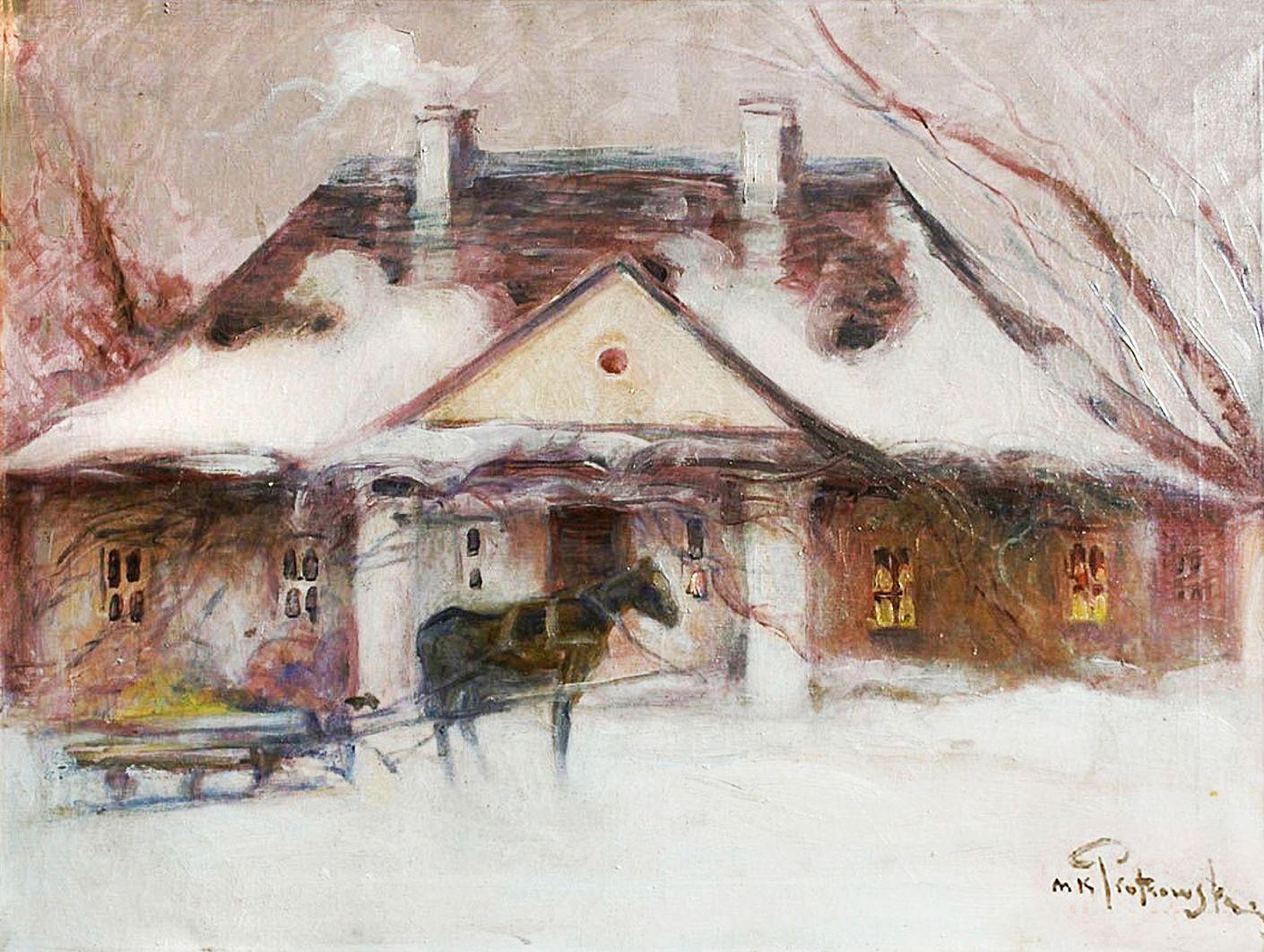 Мечислав Корвін Пьотровський. Садиба взимку, 1915