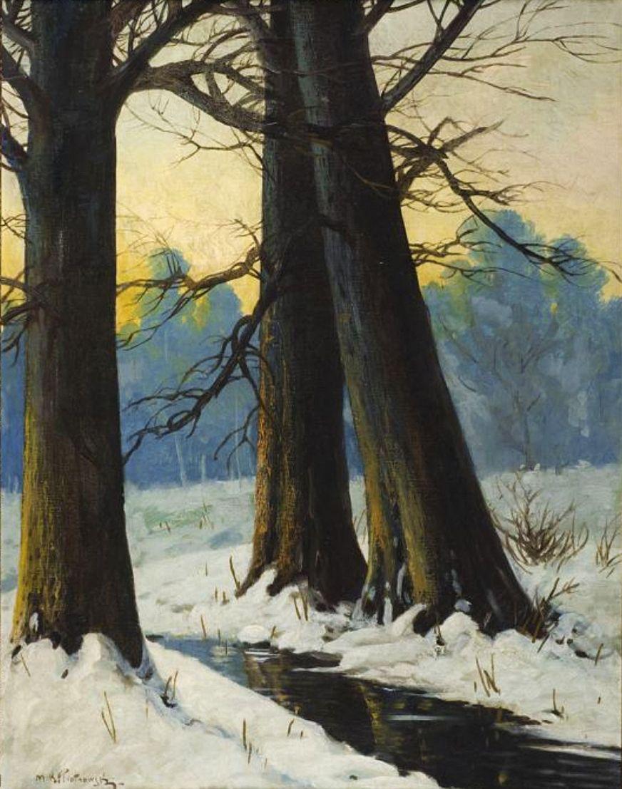 Мечислав Корвін Пьотровський. Зимовий пейзаж з потічком