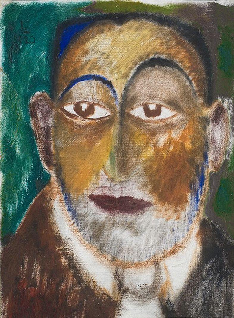 Людвиґ Ліллє. Автопортрет із намиленою бородою, 1920; NMWr
