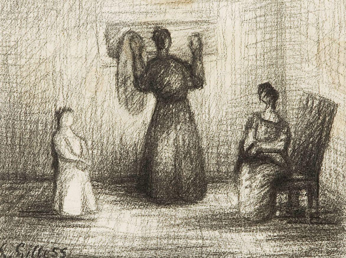Людвиґ Ліллє. Три жінки в кімнаті, 1955