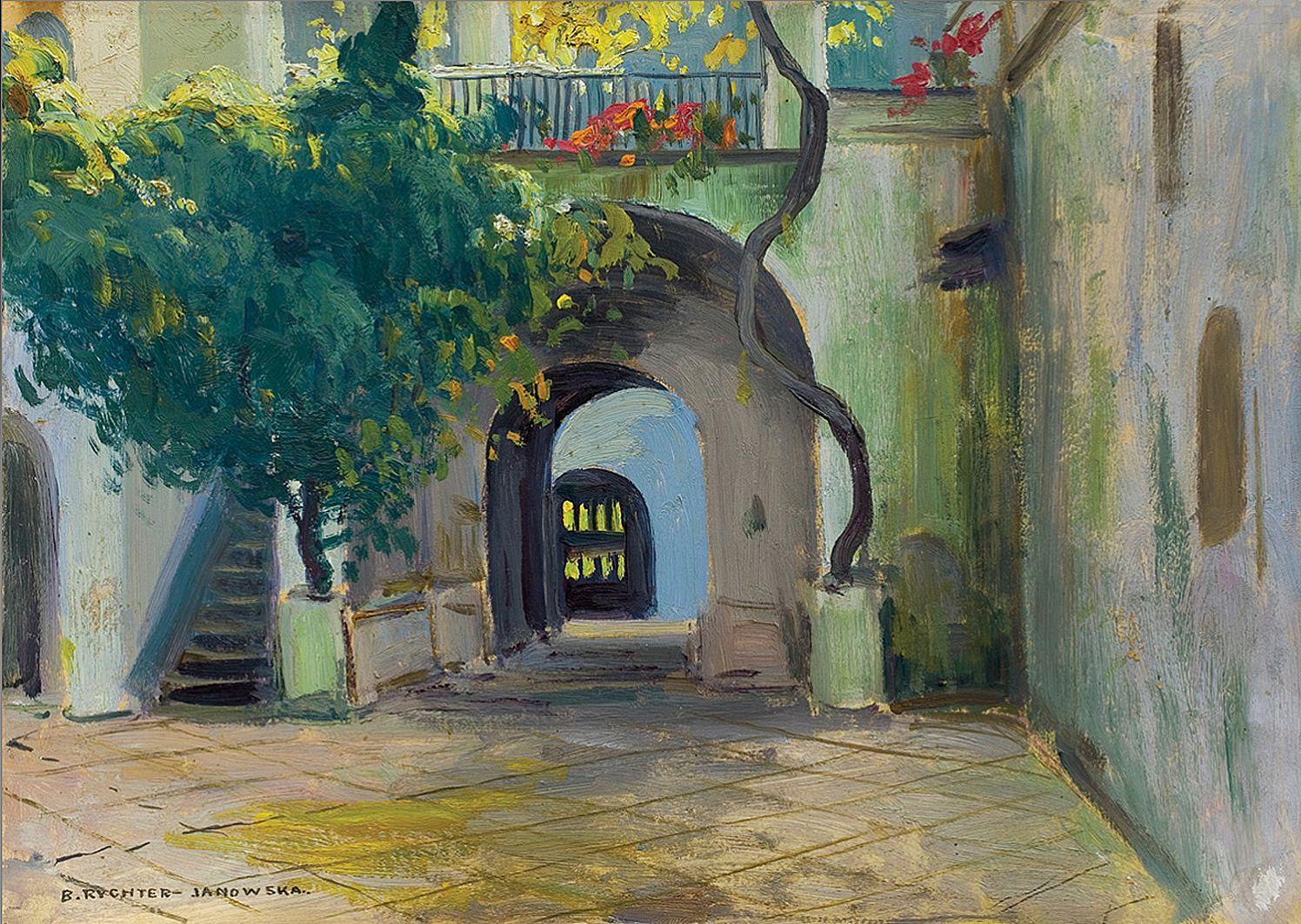 Броніслава Яновська. Італійське подвір'я в Неаполі, 1904; картон, олія