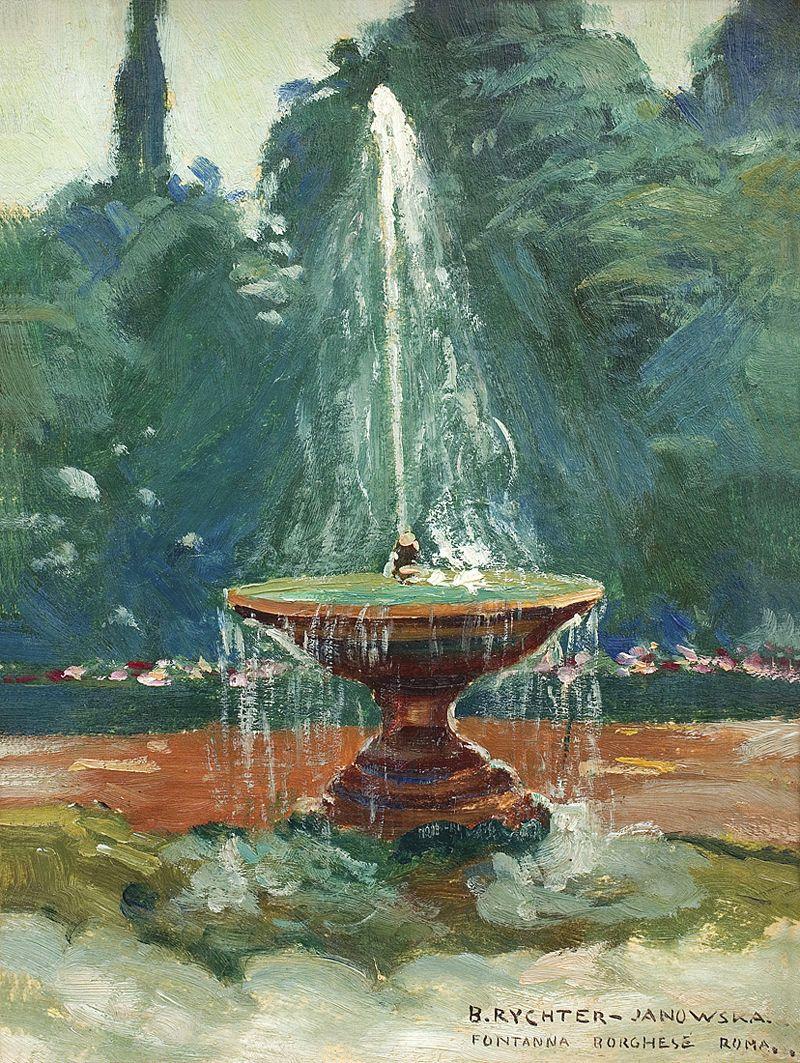 Броніслава Яновська. Фонтан у Римі, 1914; картон, олія