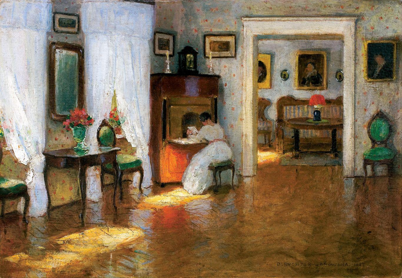 Броніслава Яновська. Жінка читає  в інтер'єрі, 1937; картон, олія