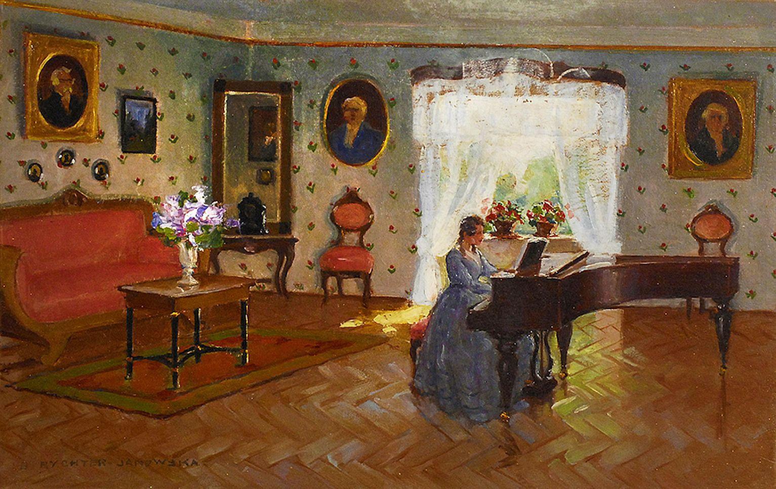 Броніслава Яновська. Жінка за роялем біля вікна, 1937; картон, олія