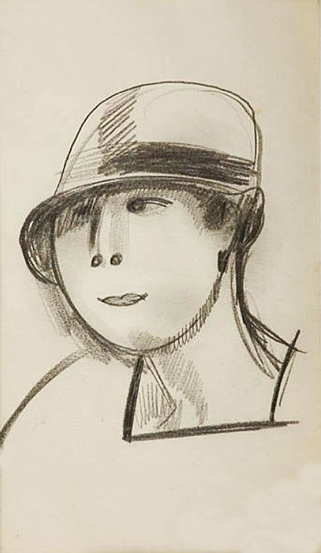 Густав Гвоздецький. Дівчина в шляпі; папір, олівець