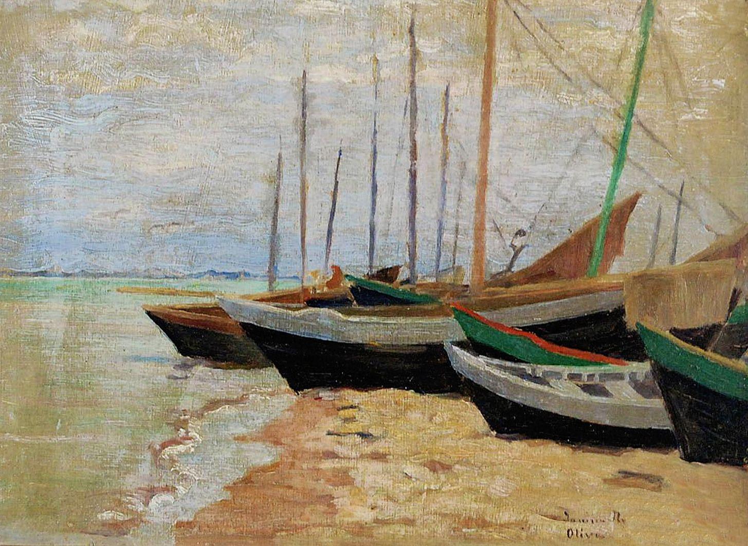 Яніна Новотнова. Рибальські човни на березі, 1925; олія, картон