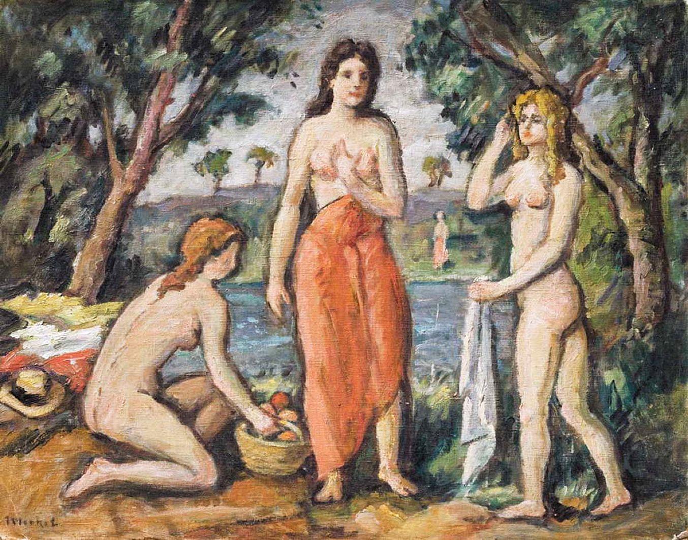 Єжи Меркель. Купальщиці, 1930-ті; картон, олія