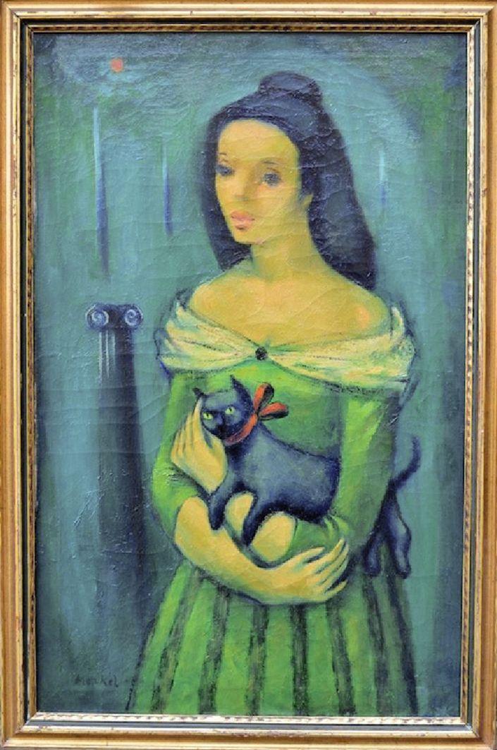 Єжи Меркель. Жінка з кицькою, 1920-ті; олія, полотно