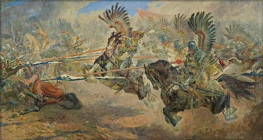 Станіслав Батовський-Качор. Гусарська атака Хотин, 1917; олія, полотно; 93 × 171