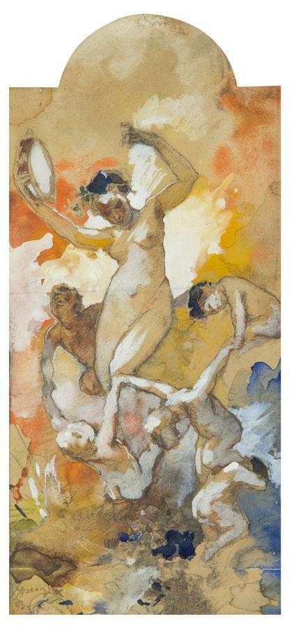 Станіслав Батовський-Качор. Алегорична сцена, 1893; акварель, олівець, папір; 24,5 x 11